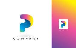 P Logo Letter With Rainbow Vibrant Mooie Kleuren P Kleurrijk T Royalty-vrije Stock Foto's