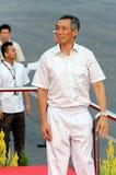 P.M. Lee regardant des spectateurs pendant le NDP 2009 Photographie stock libre de droits