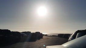 7 p.m.-zon bij het strand van Oregon stock fotografie