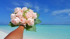 P00710 Maldives white sandy beach pink bouquet flowers on sunny tropical paradise island with aqua blue sky sea ocean 4k. Maldives white sandy beach pink bouquet Stock Images