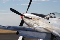 P-51 Mustang. Classic four-bladed prop driven P-51 Mustang on flight line Royalty Free Stock Image