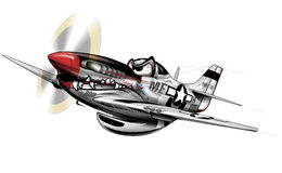P-51 Mustang WWII Airplane Cartoon Stock Photos
