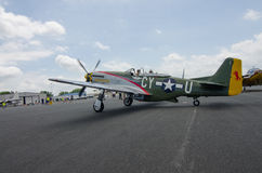 P-51 Mustang. A WWII era P-51 Mustang fighter sits on a tarmac during an historical airshow Royalty Free Stock Image