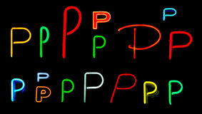 P Neon Letters. Neon letters P collected from neon signs for design elements Royalty Free Stock Photography