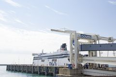 Docked ferry in Dover harbor Stock Photos