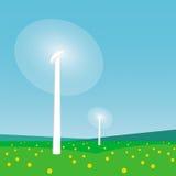 Płodozmienni silniki wiatrowi i niebieskie niebo Obraz Stock