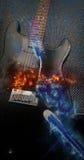 Płomienia osocza gitara elektryczna Obraz Royalty Free