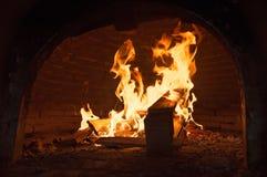 Płomienie i piec Zdjęcia Royalty Free