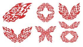 Płomienna ryba i symbole od go Zdjęcia Royalty Free