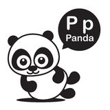 P Panda cartoon and alphabet for children to learning and colori Stock Photo