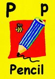 P is for pencil. Learn the alphabet and spelling. P is for pencil. Watercolour cartoon painting of a pencil and bee. Letter P, ABC kids wall art. Alphabet vector illustration