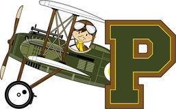 P is for Pilot. Cute Cartoon Biplane Pilot. P is for Pilot Alphabet Learning Illustration Royalty Free Stock Images