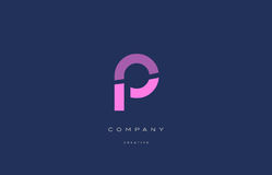 P pink blue alphabet letter logo icon Royalty Free Stock Image