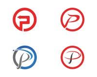 P pisze list biznesowego loga i symboli/lów szablon Obrazy Stock