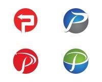 P pisze list biznesowego loga i symboli/lów szablon Obraz Stock