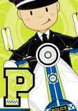 P is for Police - Cartoon Giraffe policeman Royalty Free Stock Images