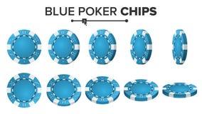 Pôquer azul Chips Vetora 3D realístico Jogo de pôquer redondo Chips Sign On White Flip Different Angles Vitória grande Fotos de Stock