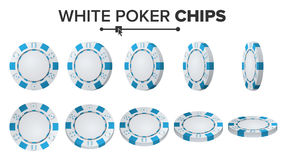 Pôquer branco Chips Vetora jogo 3D Pôquer redondo plástico Chips Sign On White Flip Different Angles Jackpot Fotografia de Stock
