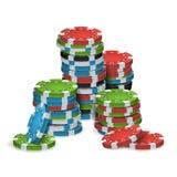 Pôquer Chips Stacks Vetora plástico Imagens de Stock Royalty Free