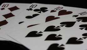 Pôquer de cartões de jogo do casino dos dez Foto de Stock