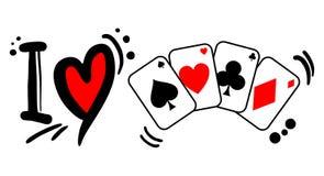Pôquer do amor Fotografia de Stock
