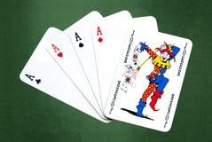 Pôquer do sucesso do palhaço Fotografia de Stock