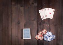 Pôquer do vintage de quatro áss Imagens de Stock
