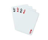 Pôquer dos cartões de jogo da rainha Imagens de Stock