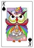 Pôquer Owl Spade Imagens de Stock