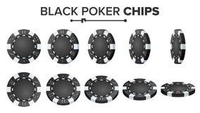 Pôquer preto Chips Vetora Grupo realístico Jogo de pôquer redondo plástico Chips Sign On White Flip Different Angles Imagens de Stock