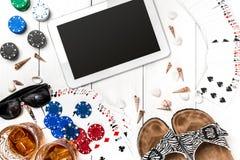 Pôquer social dos meios do blogue do cargo Modelo da disposição do molde da bandeira para o casino em linha Tabela branca de made Imagens de Stock