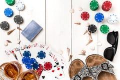 Pôquer social dos meios do blogue do cargo Modelo da disposição do molde da bandeira para o casino em linha Tabela branca de made Fotos de Stock Royalty Free