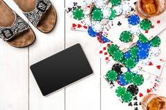 Pôquer social dos meios do blogue do cargo Modelo da disposição do molde da bandeira para o casino em linha Tabela branca de made Fotografia de Stock Royalty Free