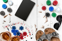 Pôquer social dos meios do blogue do cargo Modelo da disposição do molde da bandeira para o casino em linha Tabela branca de made Foto de Stock Royalty Free