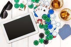 Pôquer social dos meios do blogue do cargo Modelo da disposição do molde da bandeira para o casino em linha Tabela branca de made Imagem de Stock Royalty Free