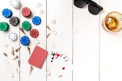 Pôquer social dos meios do blogue do cargo Modelo da disposição do molde da bandeira para o casino em linha Tabela branca de made Foto de Stock