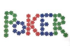 Pôquer soletrado com microplaquetas Fotografia de Stock Royalty Free