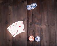 Pôquer velho do vintage acima Fotos de Stock