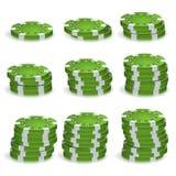 Pôquer verde Chips Stacks Vetora Grupo realístico Fotos de Stock Royalty Free