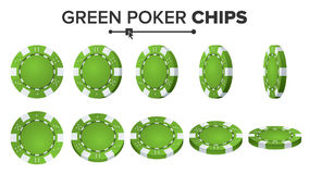 Pôquer verde Chips Vetora Grupo realístico Jogo de pôquer Chips Sign On White Background Flip Different Angles Imagem de Stock