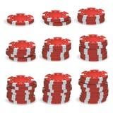 Pôquer vermelho Chips Stacks Vetora grupo 3D realístico Fotos de Stock Royalty Free