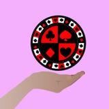 Pôquer vermelho da microplaqueta em sua mão ilustrações Fotos de Stock