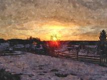 Pôr do sol da mola Imagem de Stock