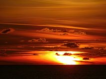 Pôr do sol do Mar do Norte Imagem de Stock