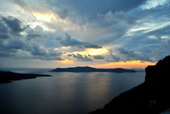 Pôr do sol em Santorini Fotografia de Stock Royalty Free