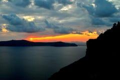 Pôr do sol em Santorini Fotos de Stock