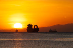 Pôr do sol na baía de Manila Fotos de Stock Royalty Free