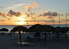 Pôr do sol na praia de Varadero, Cuba Imagens de Stock