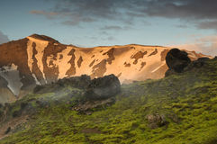Pôr do sol perto de Landmannalaugar Fotografia de Stock Royalty Free
