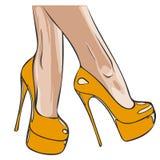 P?s delgados longos na cal?as apertada e em sapatas alto-colocadas saltos Forma, estilo, roupa e acess?rios Ilustra??o do vetor ilustração royalty free